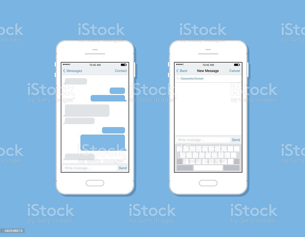 Two smartphones with chat screens vector art illustration