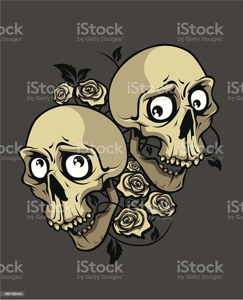 two smile skulls with roses vector art illustration