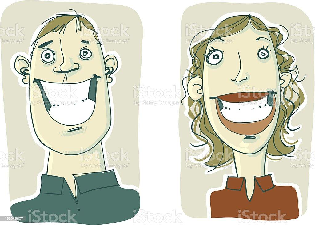 Two Smiles vector art illustration