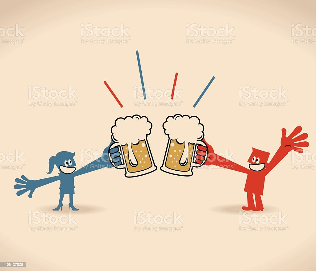 Two smiling business people (businessman, businesswomen) drinking beer and toasting vector art illustration