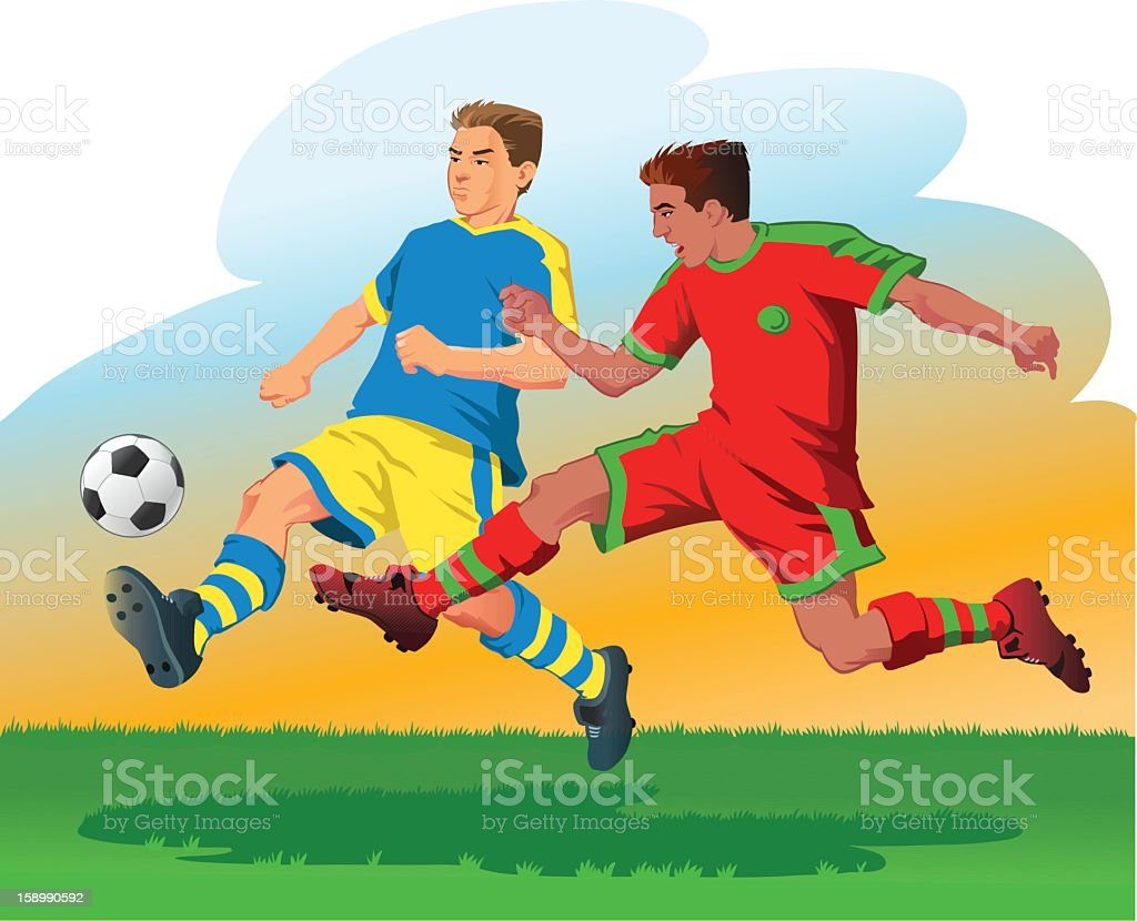 Two Soccer Players Attacking the Ball royalty-free stock vector art