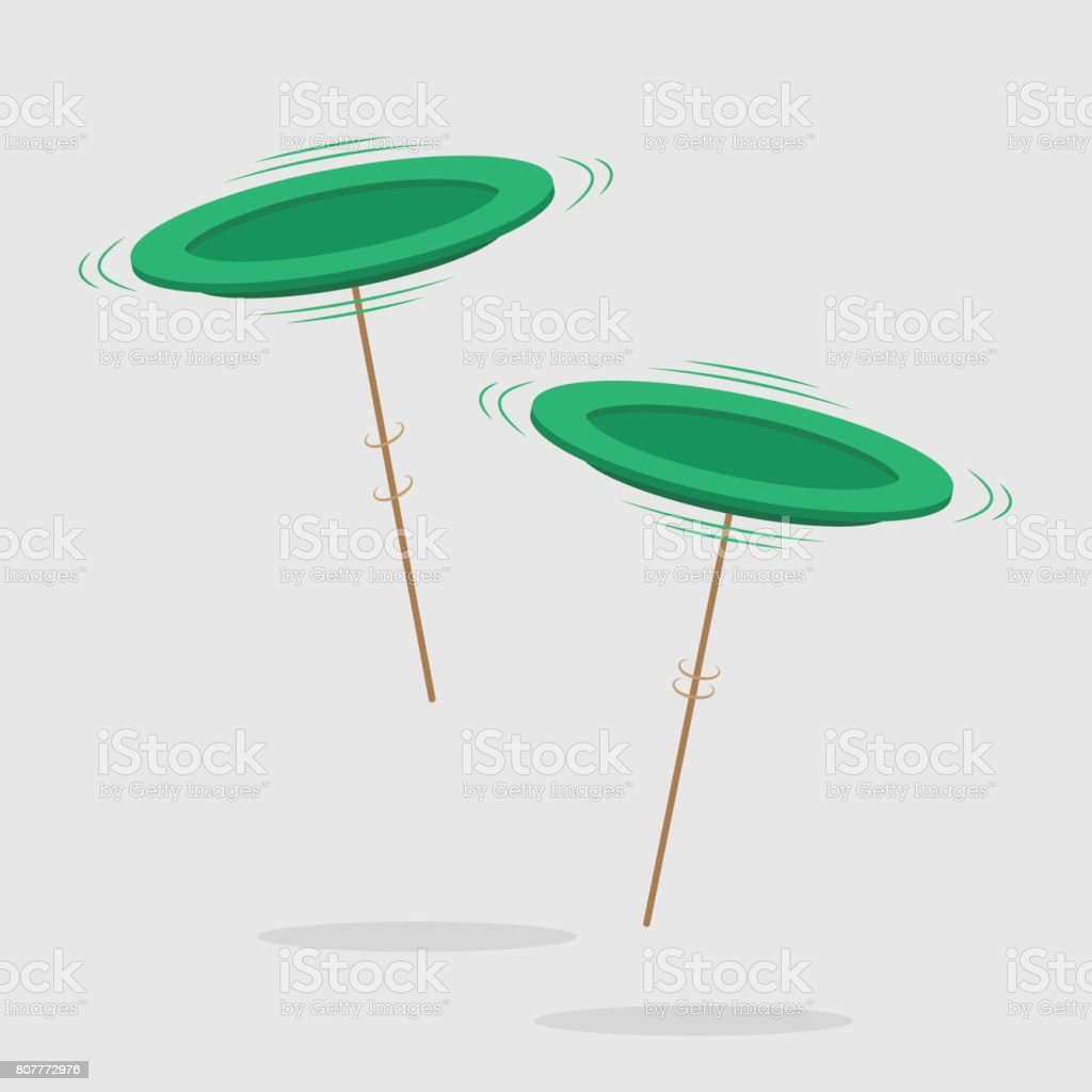 Two spinning green plates on brown pole vector art illustration