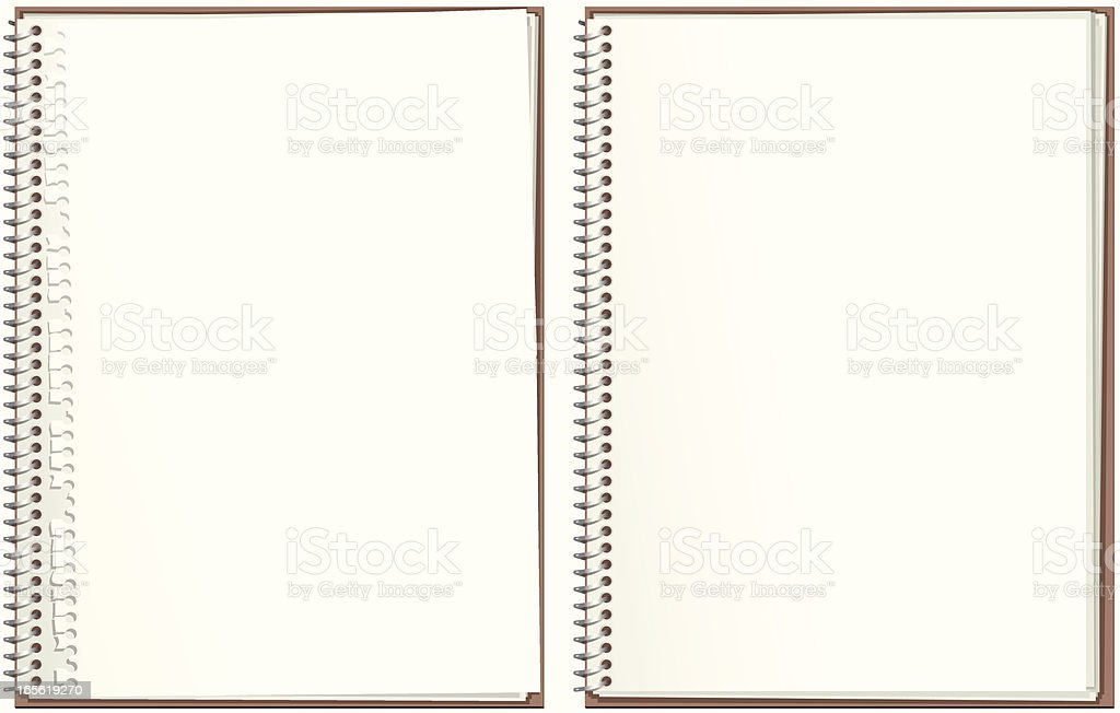 Two spiral bound paper notepads vector art illustration