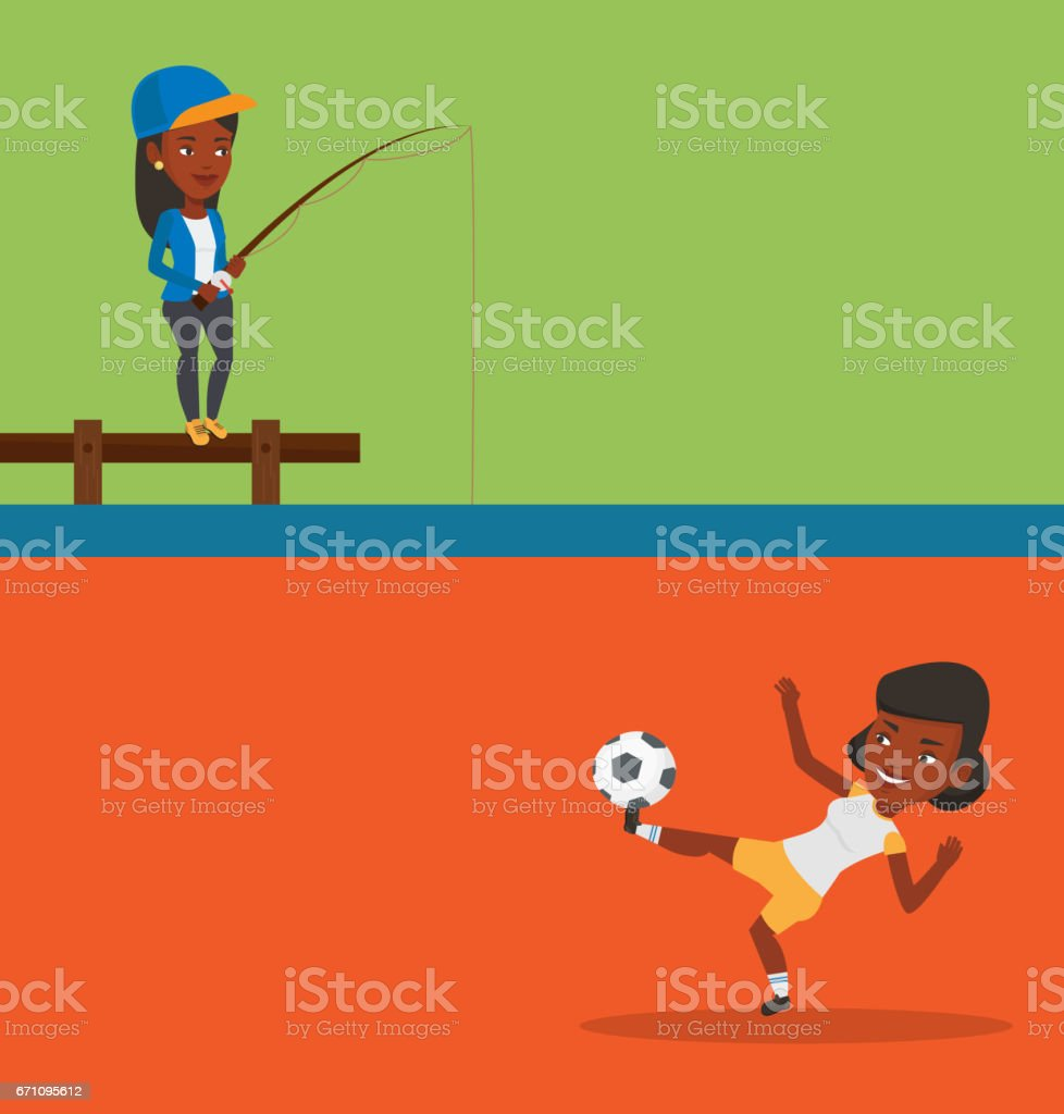 Two sport banners with space for text vector art illustration