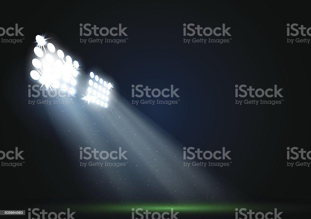 Two spotlights on a football field vector vector art illustration