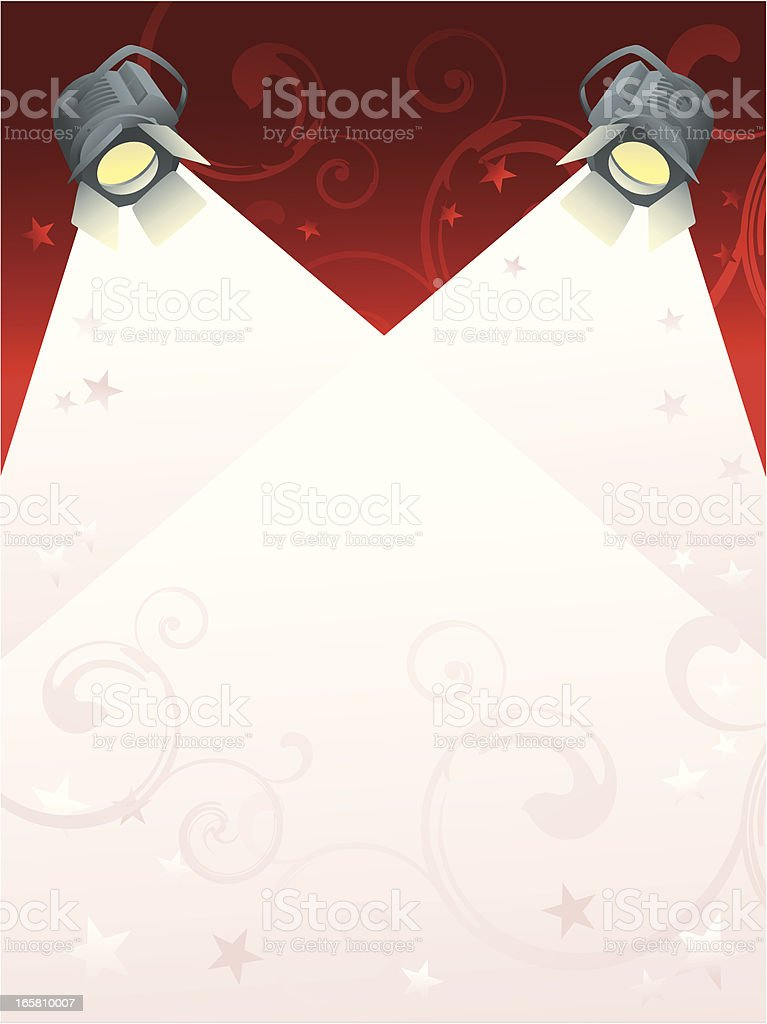 Two spotlights shine downward from a ruby red background royalty-free stock vector art