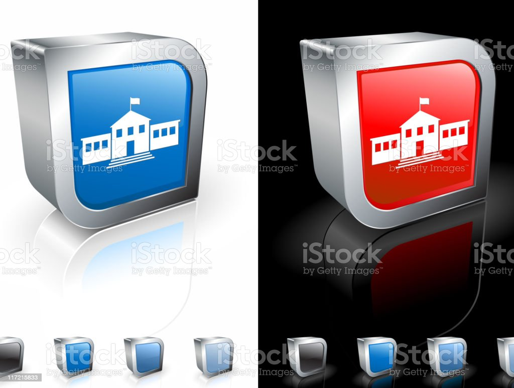 Two, square blue and red icons with a middle school picture. royalty-free stock vector art