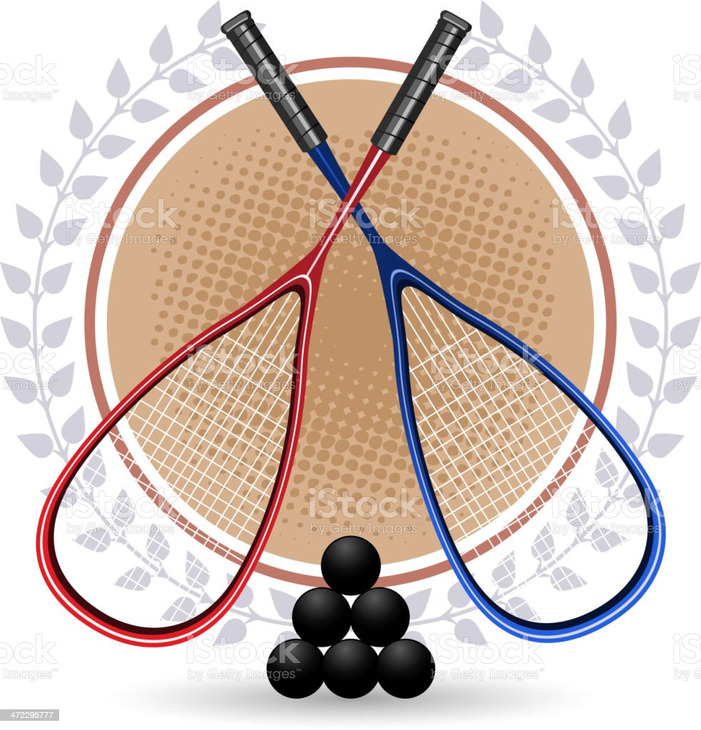 Two Squash rackets with 6 black balls and laurels royalty-free stock vector art