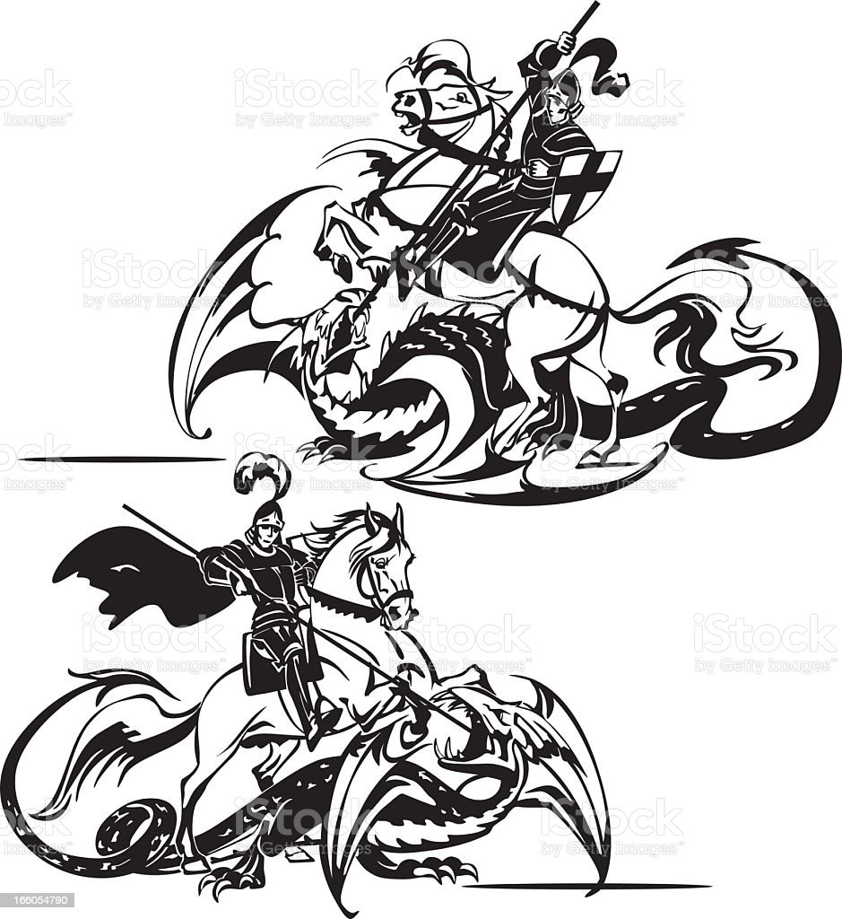 Two St. George themes royalty-free stock vector art