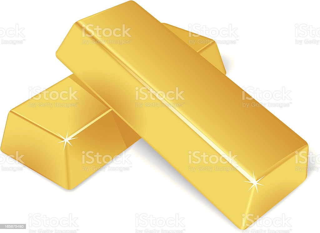Two stacked up gold bars isolated on a white background royalty-free stock vector art
