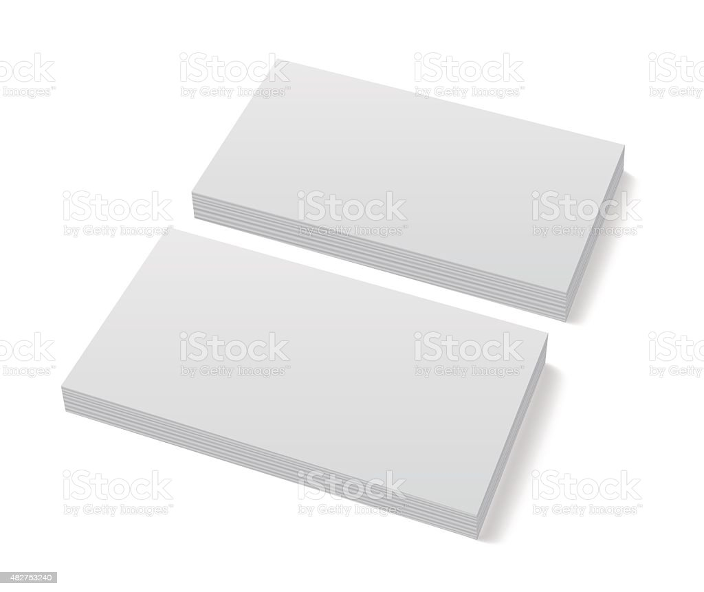 Two stacks of blank business cards on white background vector art illustration