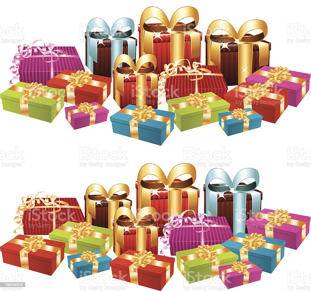 Two stacks of festive gifts. royalty-free stock vector art