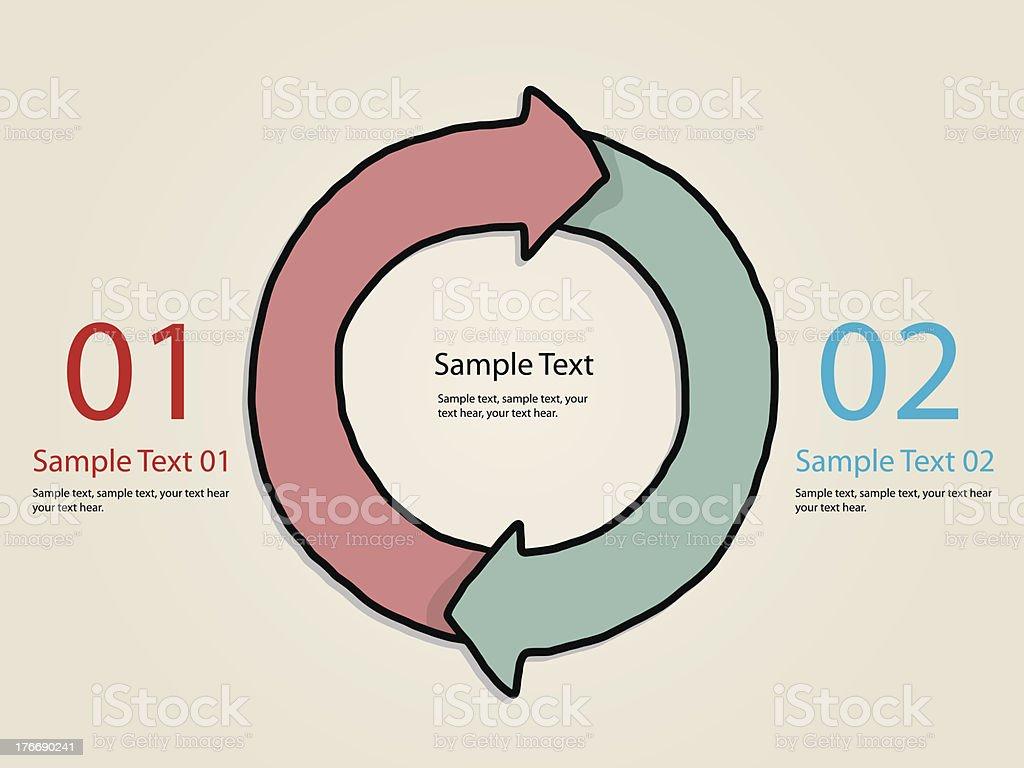 two steps progression circular arrow royalty-free stock vector art