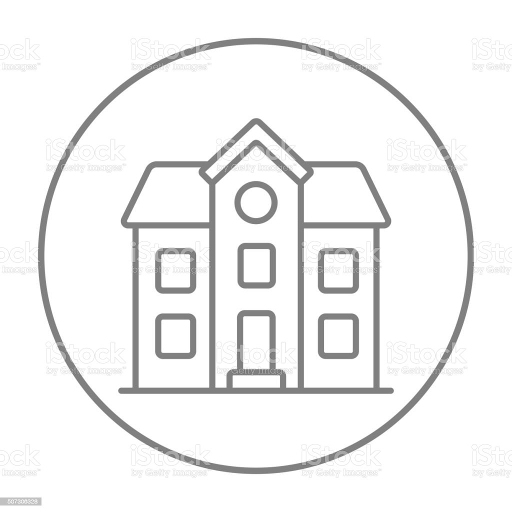 Two storey detached house line icon vector art illustration