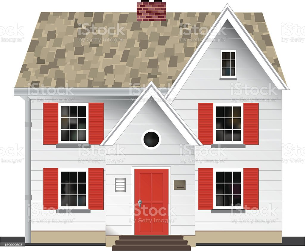 Two storey House vector art illustration