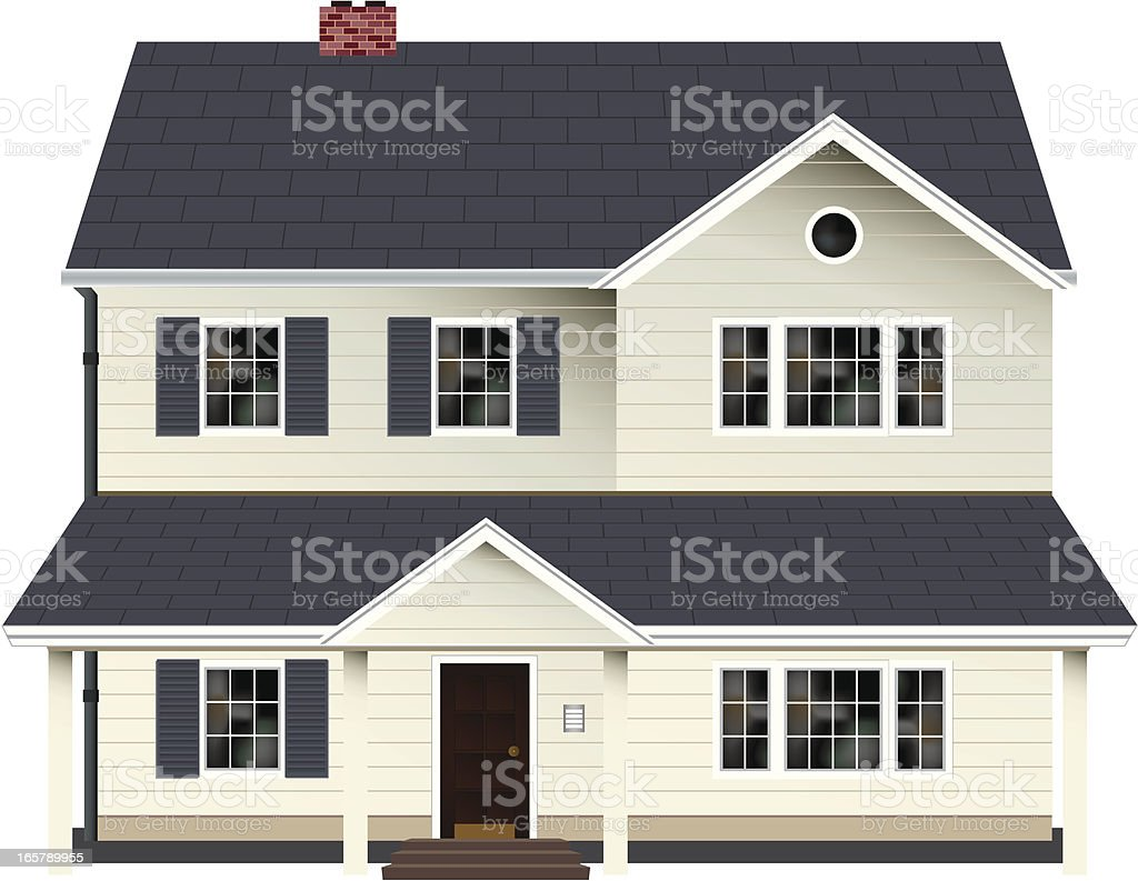 Two Storey House vector art illustration