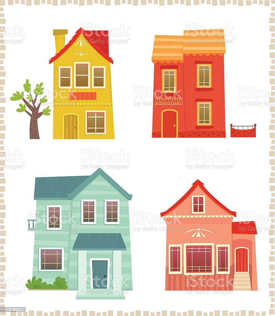 Two Story Houses vector art illustration