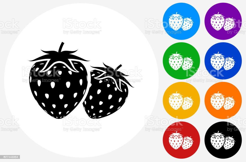 Two Strawberries Icon on Flat Color Circle Buttons vector art illustration