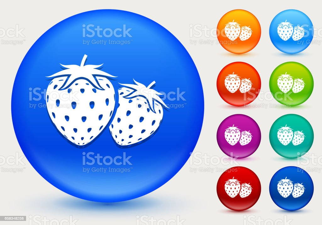 Two Strawberries Icon on Shiny Color Circle Buttons vector art illustration