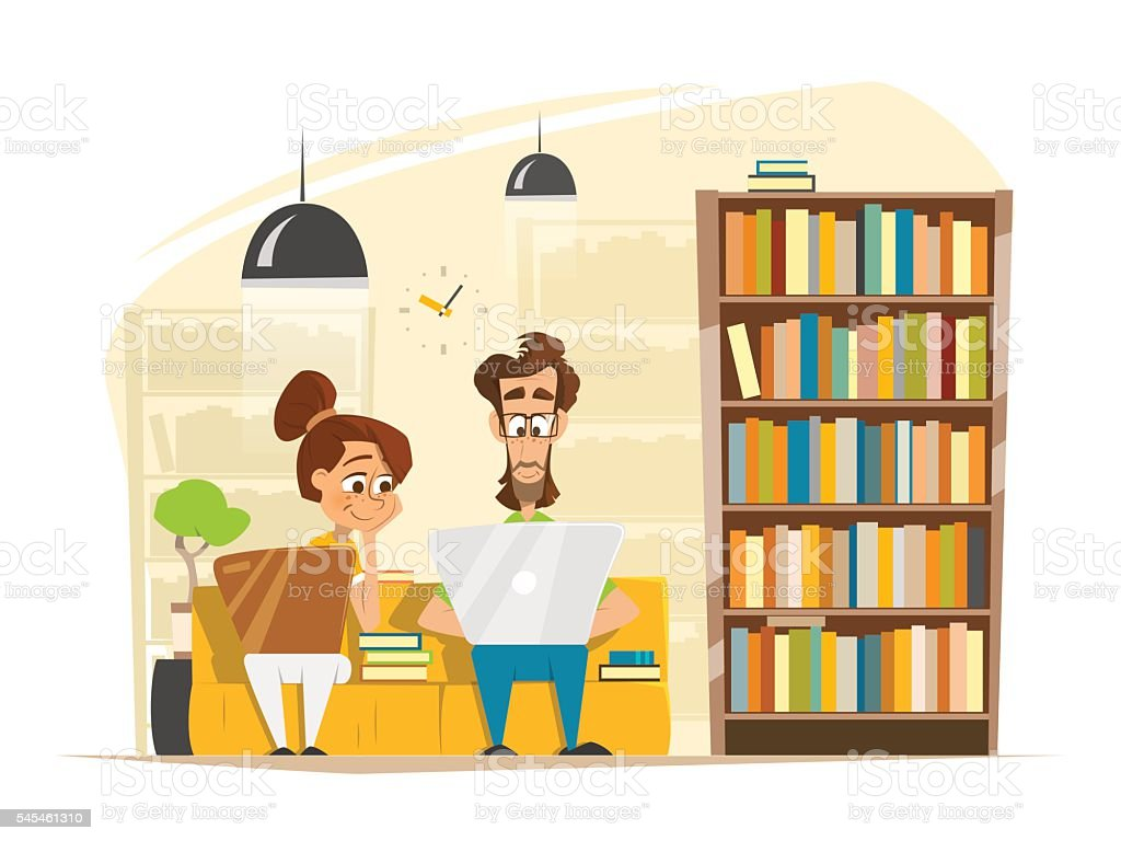 Two Students Boy Girl Sitting Studying With Laptop In Library vector art illustration