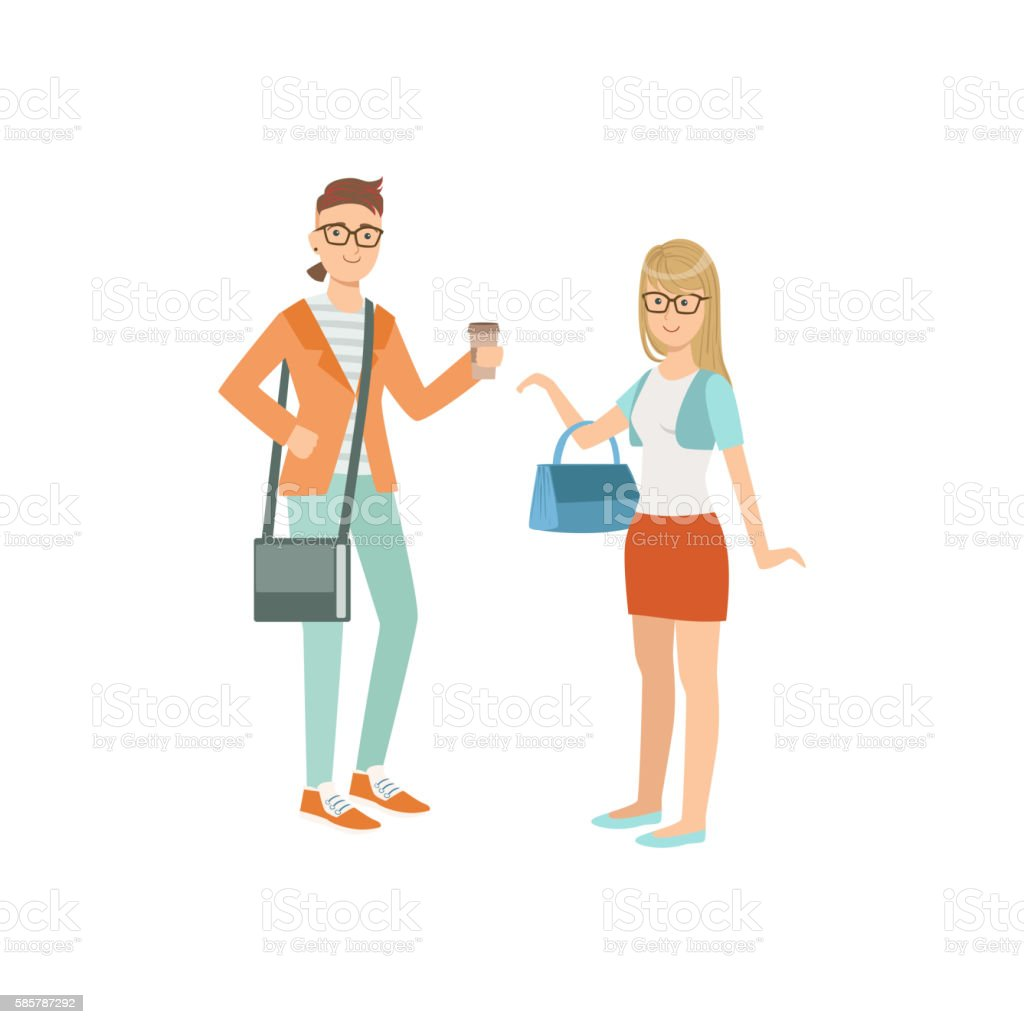 Two Students In Hipster Trendy Outfits vector art illustration