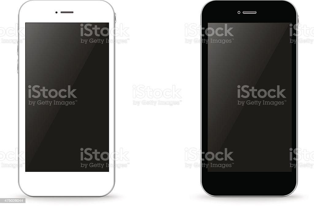 Two stylish phone black and white vector illustration vector art illustration