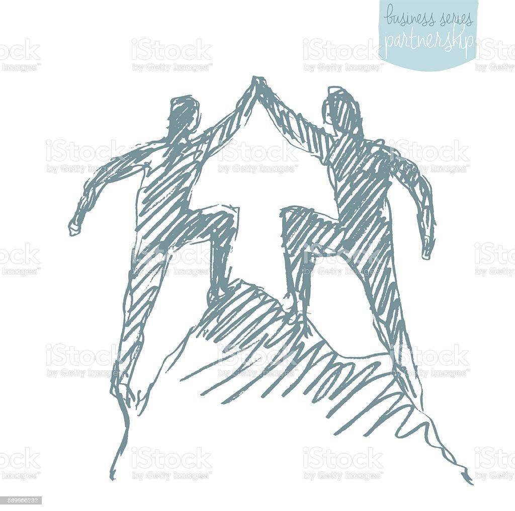 Two success climbers teamwork partnership vector. vector art illustration