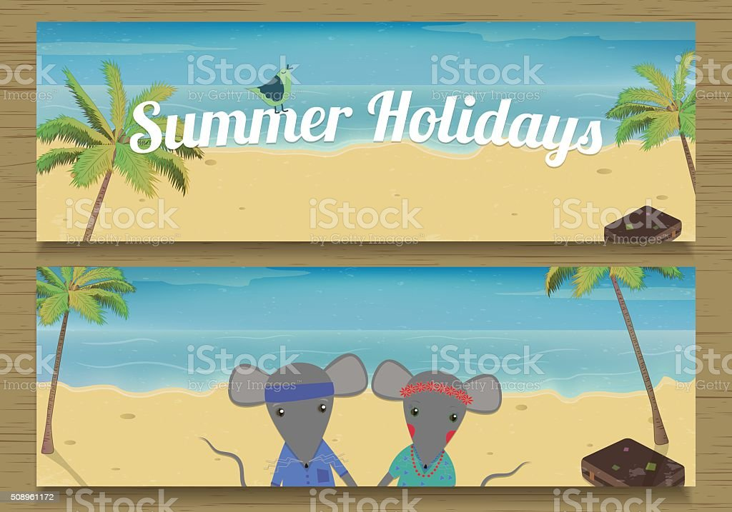 Two Summer Holidays Banner with cute couple Mouse. royalty-free stock vector art