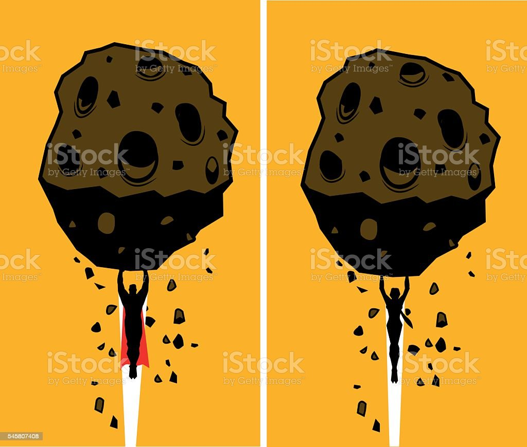 Two superheroes lift a heavy rock silhouettes vector art illustration