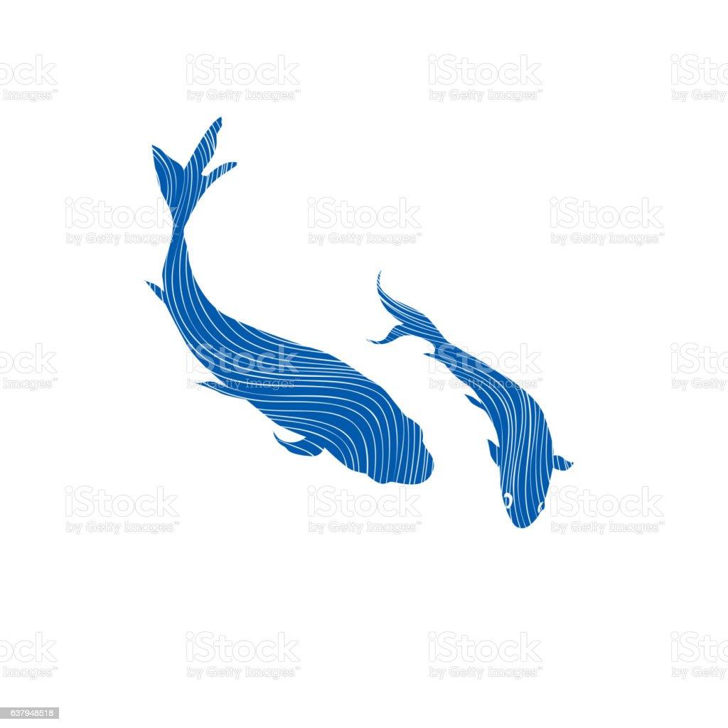 Two swimming fish Underwater marine life background. vector art illustration