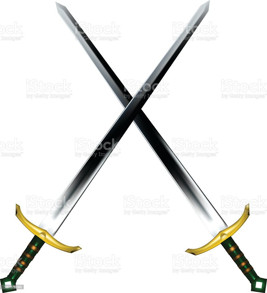Two swords crossed forming an X  royalty-free stock vector art