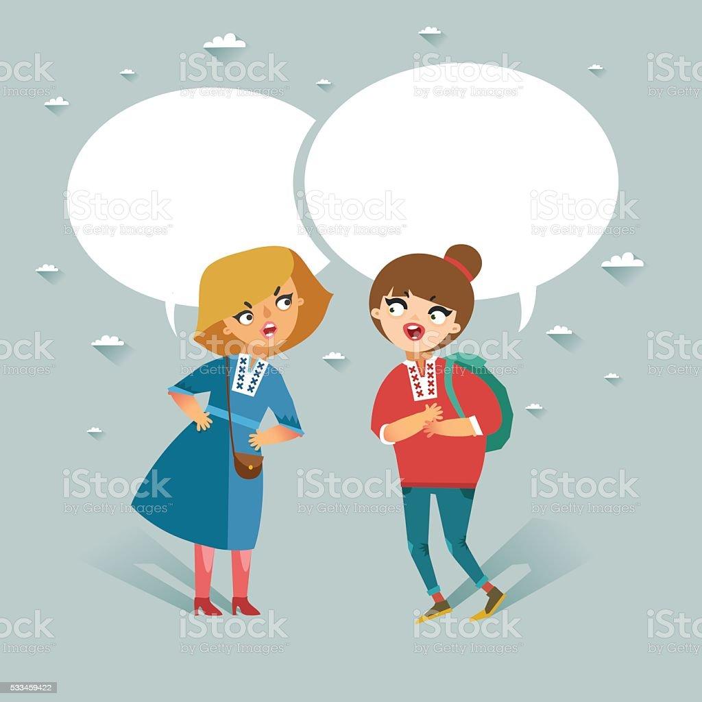 Two teenage girls talking vector art illustration