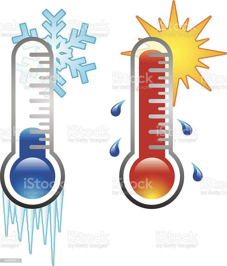 Two thermometers vector art illustration