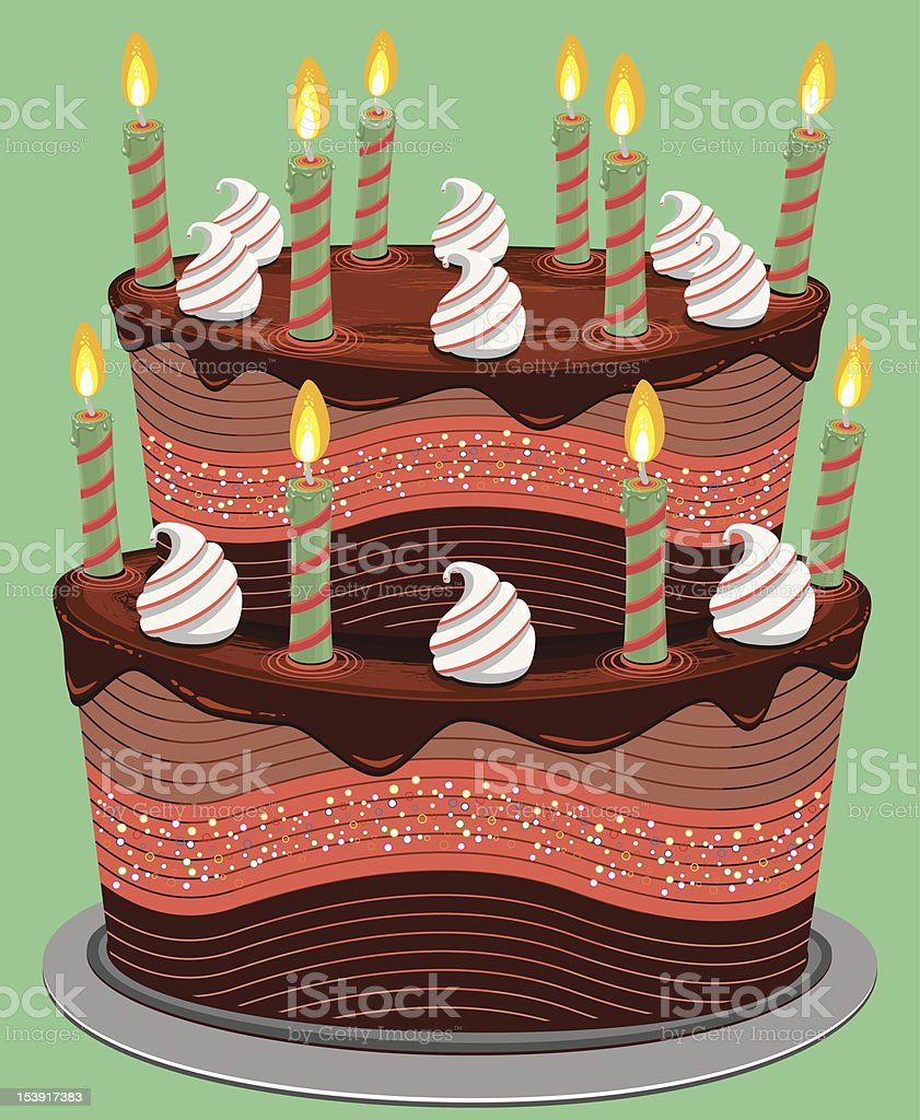 Two Tier Chocolate Cake royalty-free stock vector art