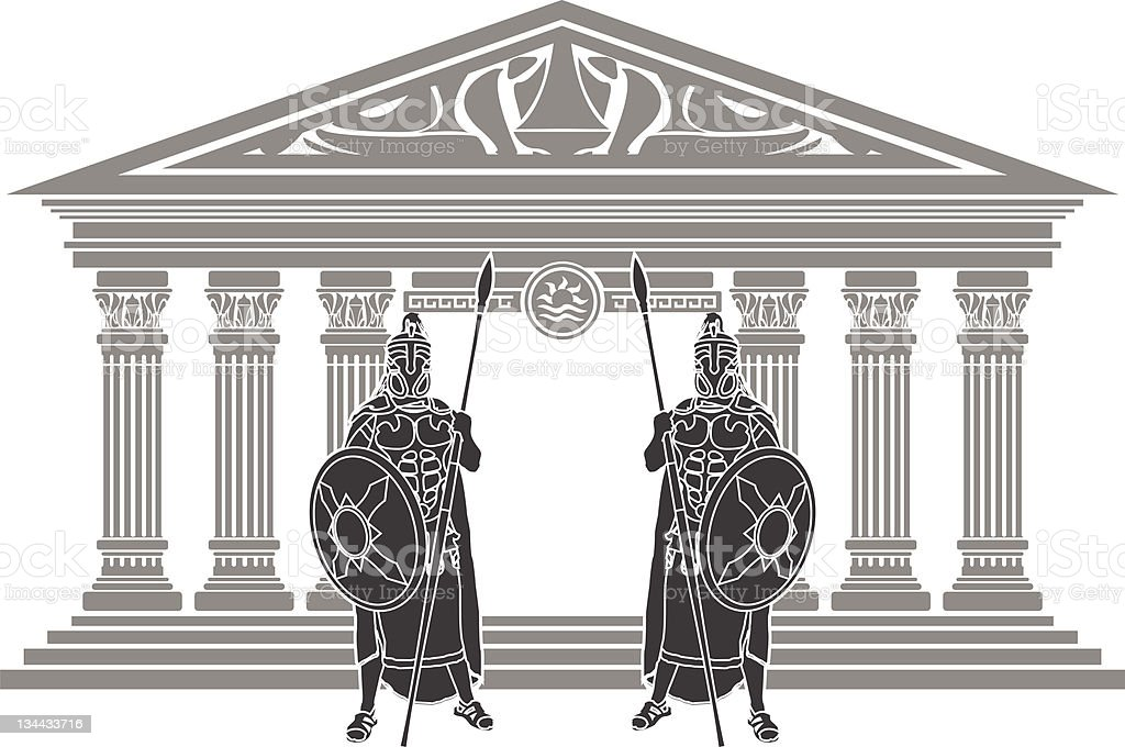 two titans and temple of atlantis vector art illustration