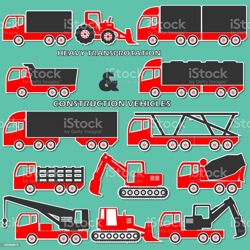 two tone shape heavy transportation vector art illustration