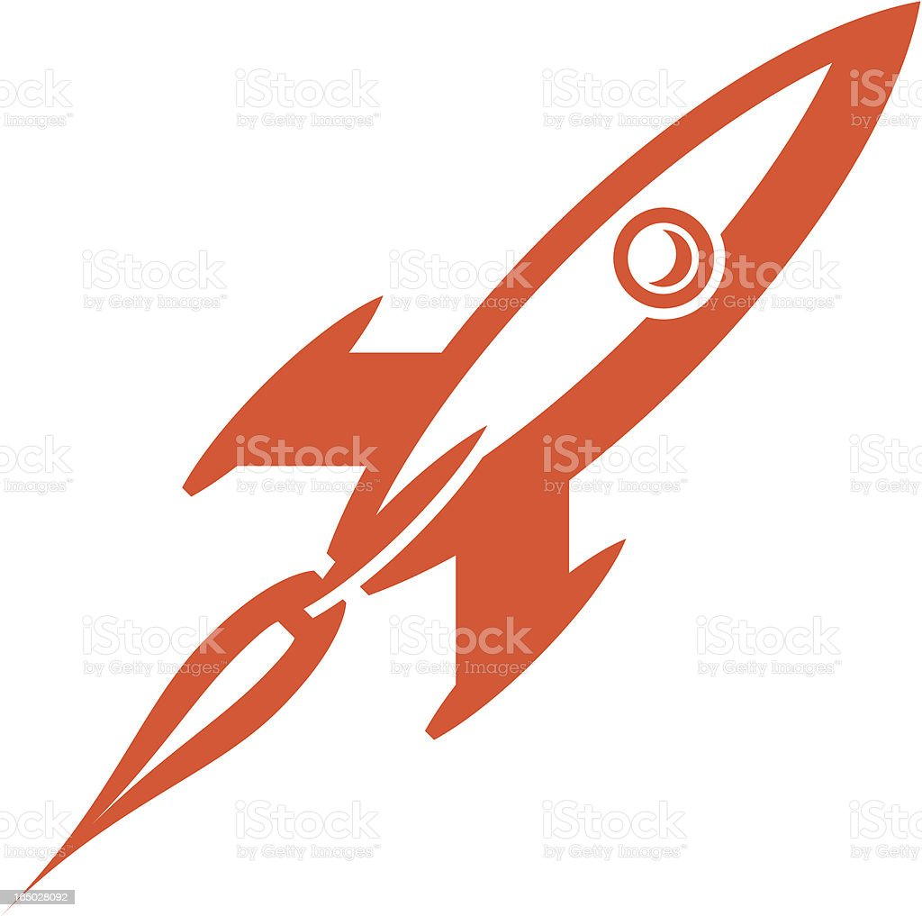 Two toned image of a rocket in motion royalty-free stock vector art