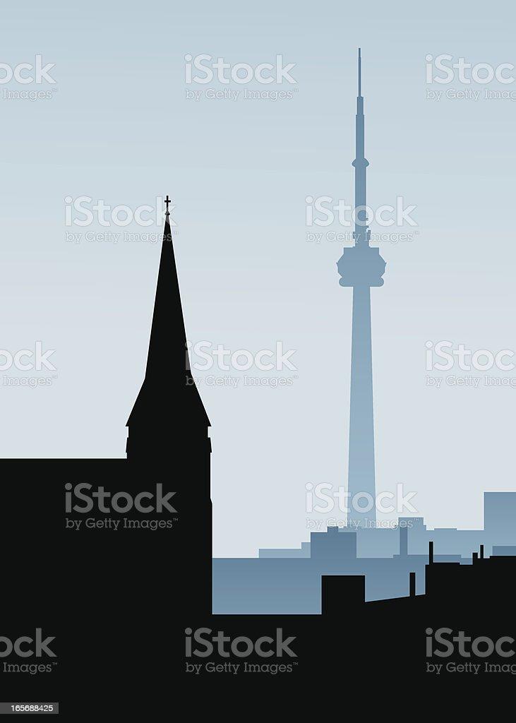 Two Toronto Towers vector art illustration