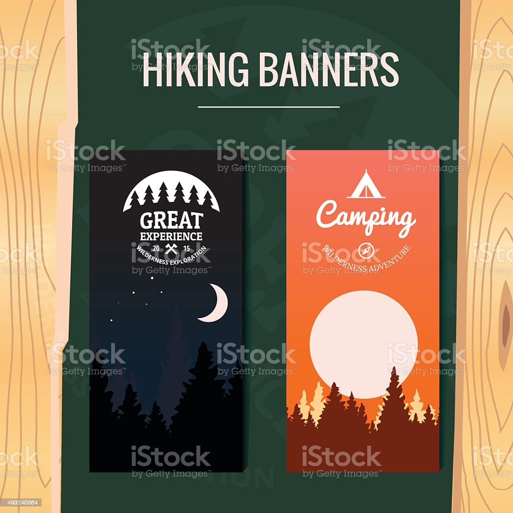 Two Tourism hiking vertical banners vector art illustration