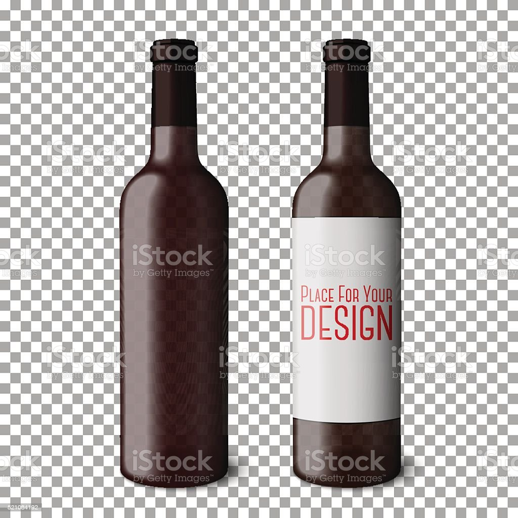 Two transparent blank black realistic bottles for red wine isolated vector art illustration