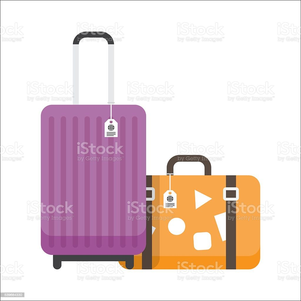Two travel suitcases with tags and stickers. vector art illustration
