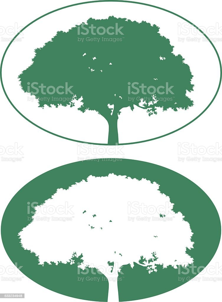 Two Tree Icons vector art illustration