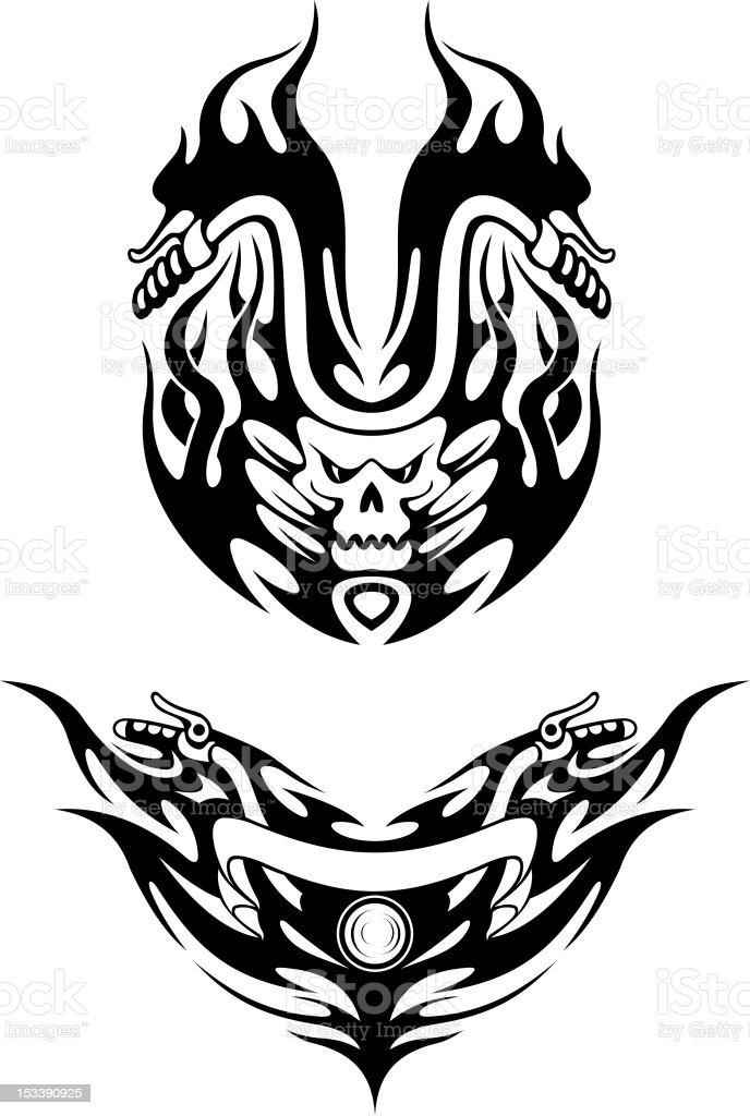 Two tribal bike tattoos royalty-free stock vector art