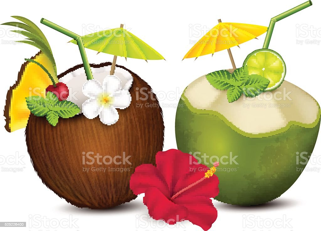 Two tropical cocktails vector art illustration
