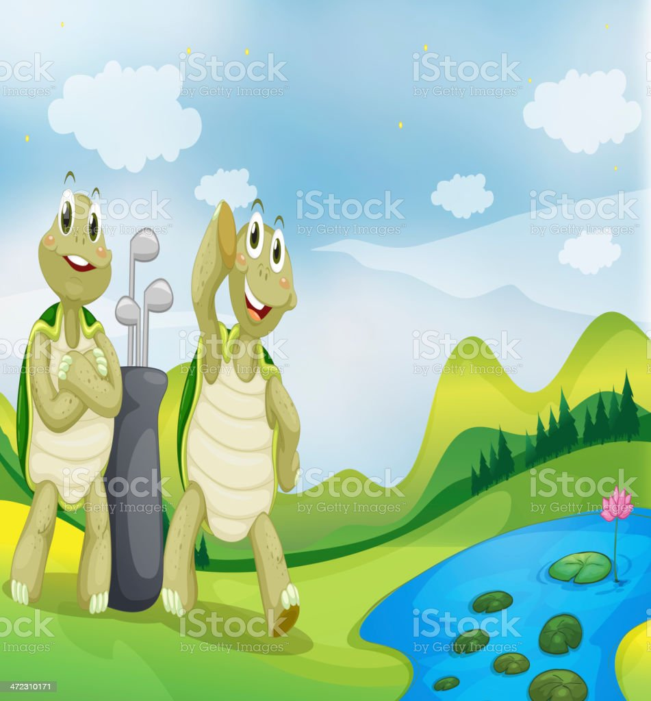 Two turtles near the river vector art illustration