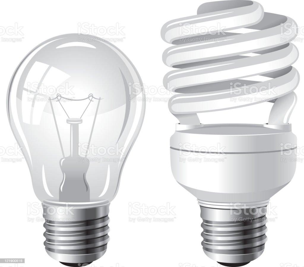 Two type of light bulbs vector art illustration