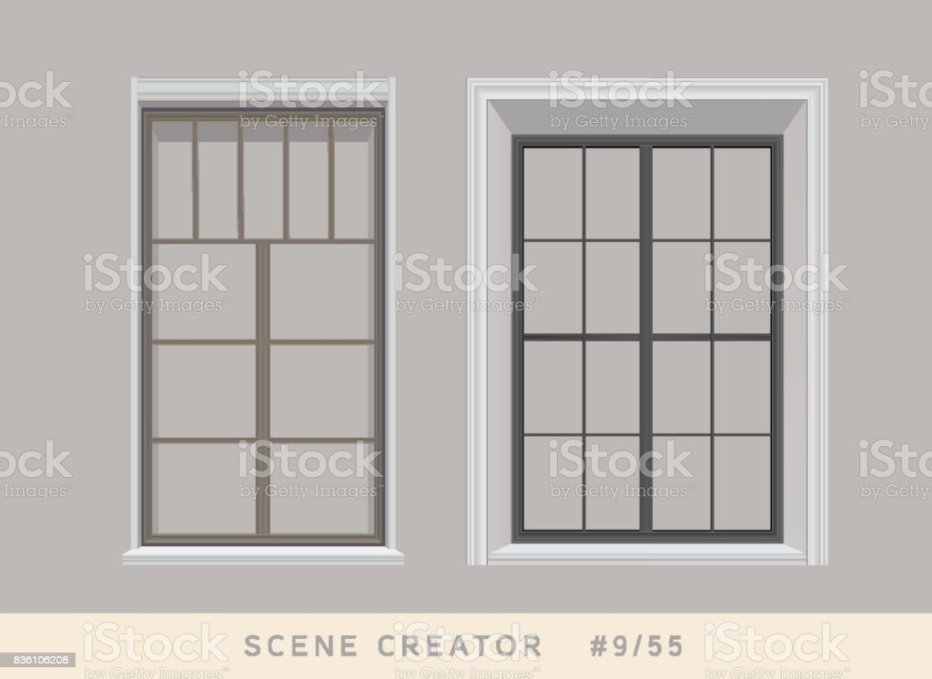 Two types of windows. Isolated vector objects set. vector art illustration