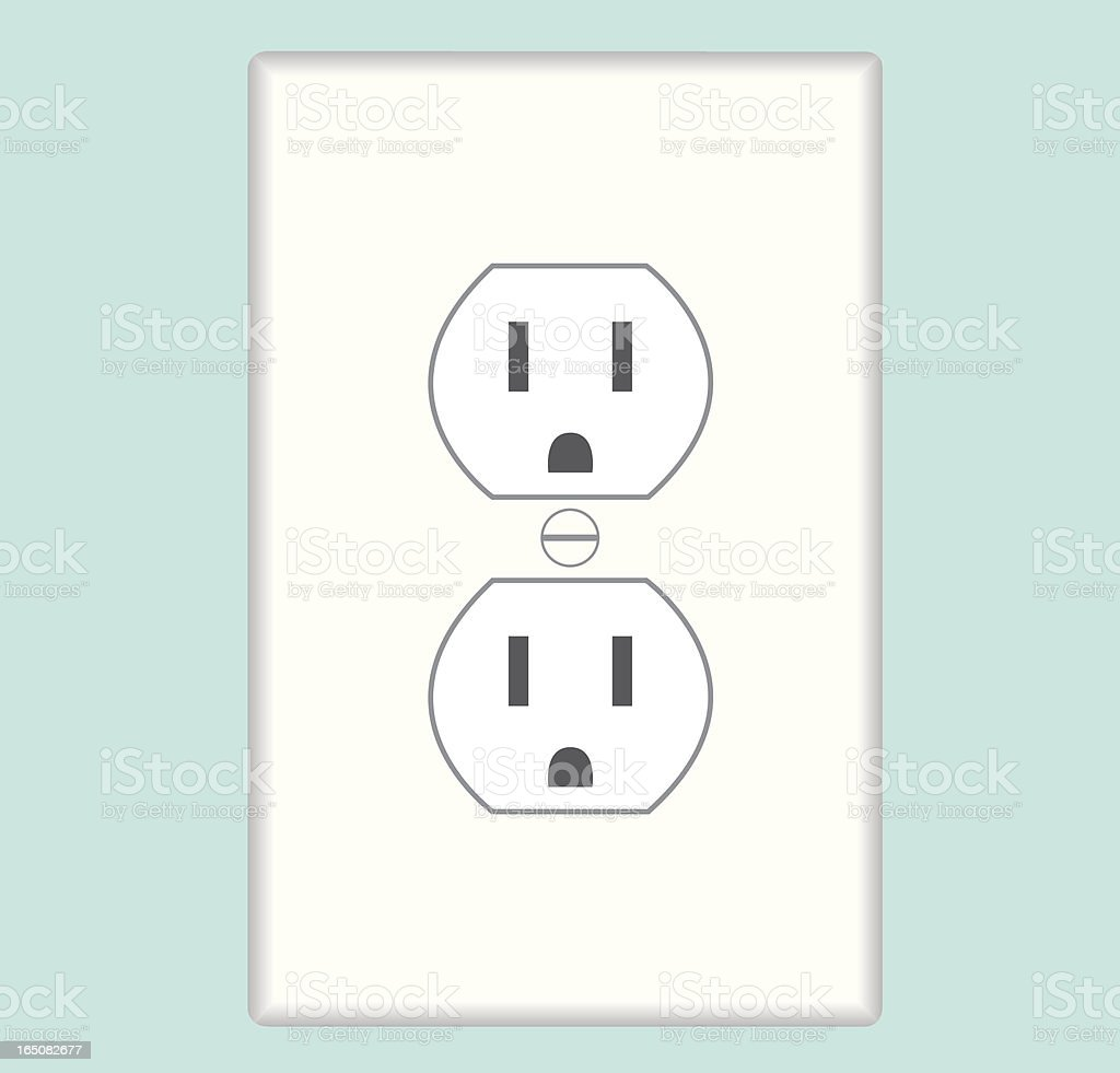 Two US type electric outlets fixed to the wall vector art illustration