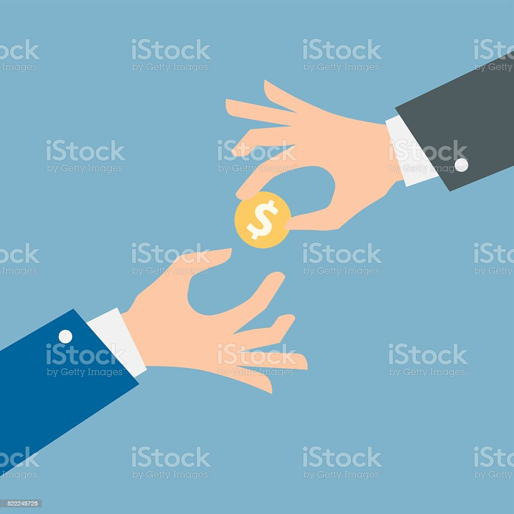 Two vector hands, giving money. vector art illustration