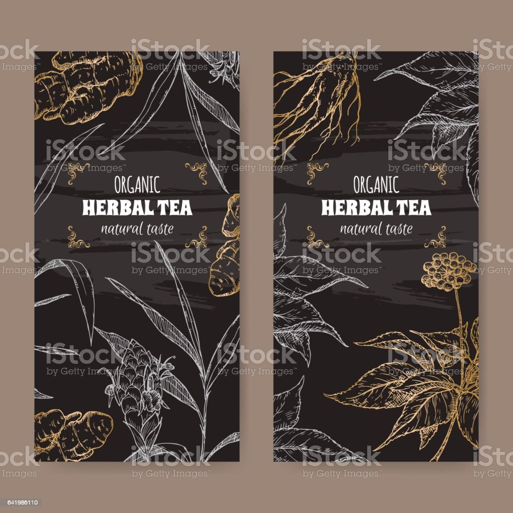 Two vector labels with ginger and ginseng sketch on black. vector art illustration